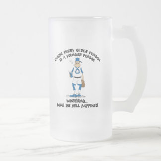 Funny Old Grandpa Gift Frosted Glass Beer Mug