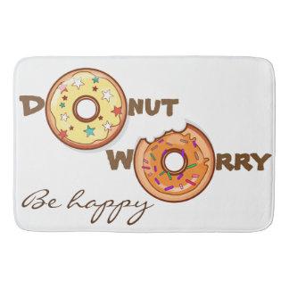 "Funny & optimimistic ""donut worry, be happy"" bath mat"