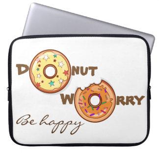 "Funny & optimimistic ""donut worry, be happy"" laptop sleeve"