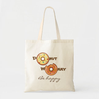 """Funny & optimimistic """"donut worry, be happy"""" tote bag"""