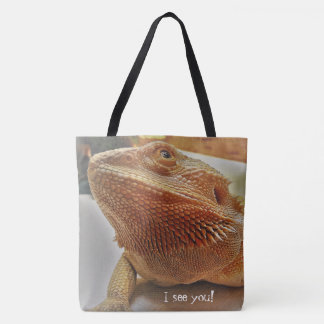 Funny Orange Bearded Dragon Close Up Picture Tote Bag