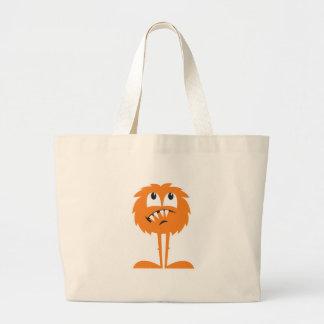 funny orange furry monster jumbo tote bag