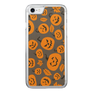 Funny Orange Halloween Pumpkins Pattern Carved iPhone 7 Case