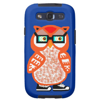Funny Orange Hipster Owl Blue Samsung Case Galaxy S3 Covers