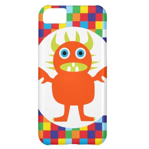 Funny Orange Monster Creature Bright Color Blocks Case For iPhone 5C