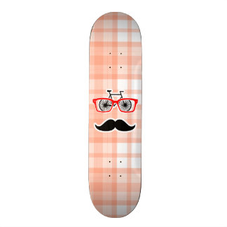 Funny Orange Plaid Mustache Custom Skate Board