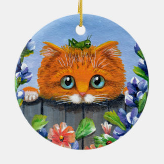 Funny Orange Tabby Cat Grasshopper Creationarts Ceramic Ornament