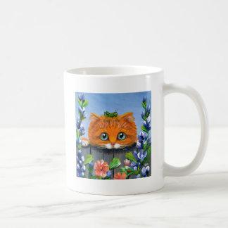 Funny Orange Tabby Cat Grasshopper Creationarts Coffee Mug