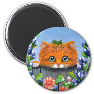 Funny Orange Tabby Cat Grasshopper Creationarts Magnet