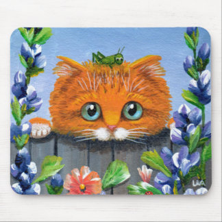 Funny Orange Tabby Cat Grasshopper Creationarts Mouse Pad