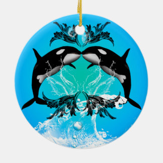 Funny orcas with water splash ceramic ornament