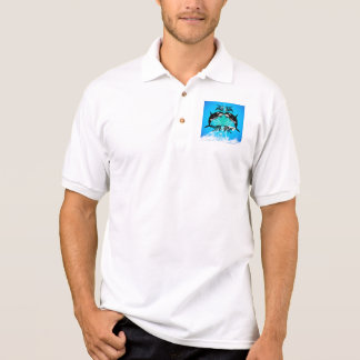 Funny orcas with water splash polo shirt