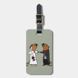 Funny Otter Wedding Cartoon Luggage Tag