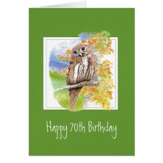 Funny Owl 70th Birthday Getting Older Greeting Card