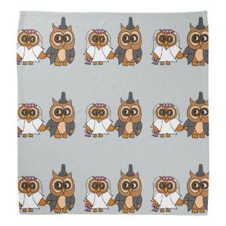 Funny Owl Bride and Groom Wedding Bandanas