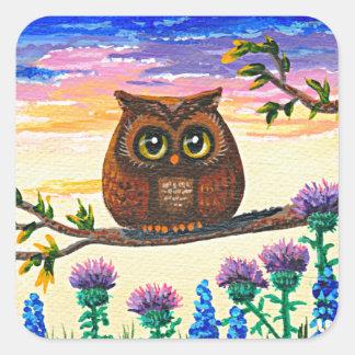 Funny Owl Cartoon Creationarts Square Sticker