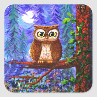 Funny Owl Forest Moon Whimsical Creationarts Square Sticker