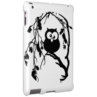 Funny owl sitting in the tree and has the moon