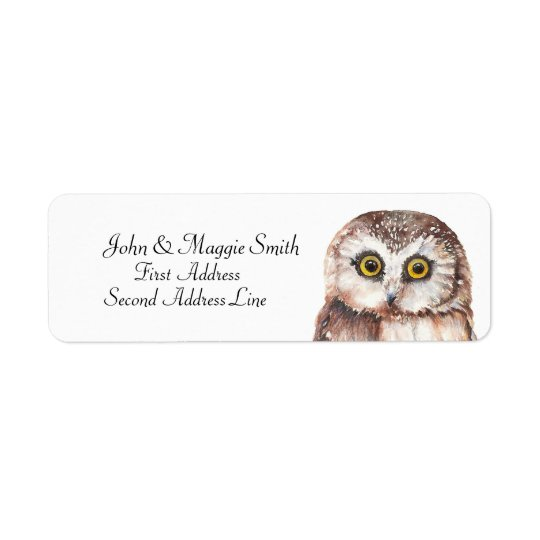 Funny Owl Watercolor Bird Collection Return Address Label