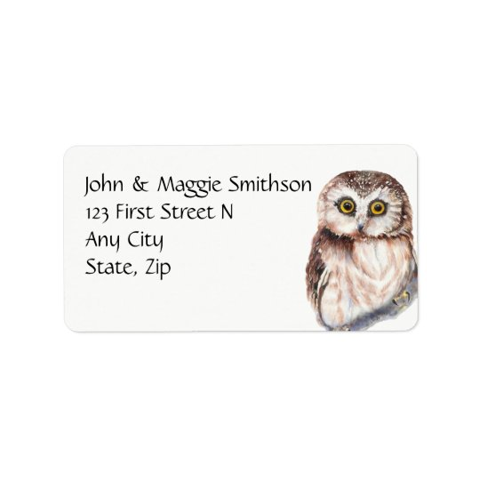 Funny Owl Watercolor Bird Custom Address Address Label
