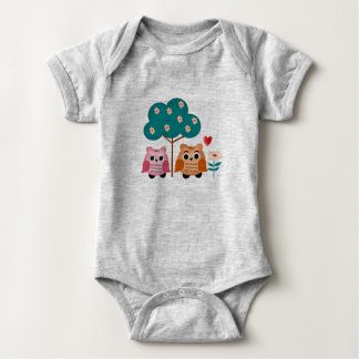 funny owls baby bodysuit