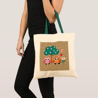 funny owls tote bag
