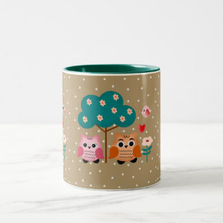 funny owls Two-Tone coffee mug