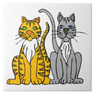 Funny Pair of Cartoon Tabby and Gray Alley Cats Large Square Tile