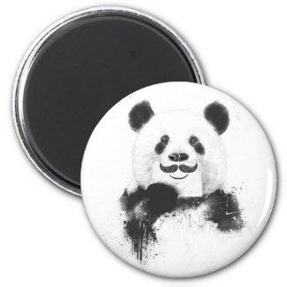 Funny panda 6 cm round magnet
