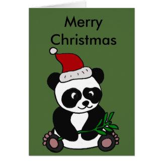 Funny Panda Bear Christmas Art Card
