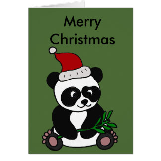 Funny Panda Bear Christmas Art Greeting Card