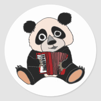 Funny Panda Bear Playing Accordion Round Sticker