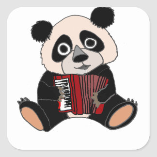 Funny Panda Bear Playing Accordion Square Sticker