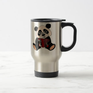 Funny Panda Bear Playing Accordion Travel Mug
