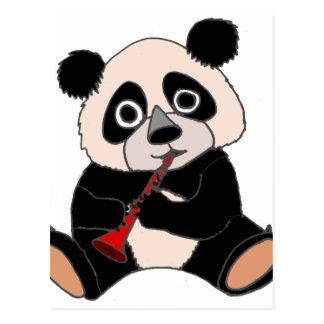 Funny Panda Bear Plying Red Clarinet Postcard