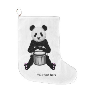 Funny Panda Playing Drums Large Christmas Stocking