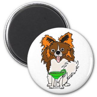 Funny Papillon Dog Drinking Margarita Cartoon 6 Cm Round Magnet