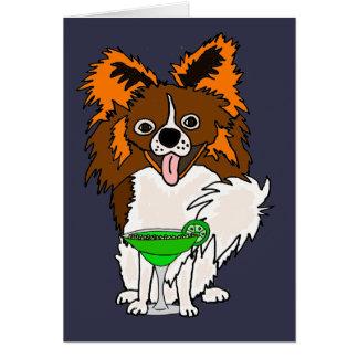 Funny Papillon Dog Drinking Margarita Cartoon Card