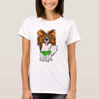 Funny Papillon Dog Drinking Margarita Cartoon T-Shirt