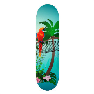 Funny parrot with flowers skateboards