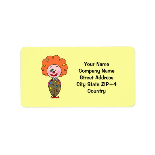 Funny party clown return address label