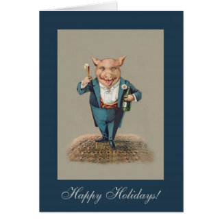 Funny Partying Pig - Cute Animal Holiday/Christmas Card