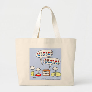 Funny  Patriotic American Cheese Cartoon Grocery Large Tote Bag