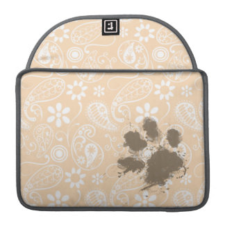 Funny Paw Print on Bisque Color Paisley; Floral Sleeves For MacBook Pro