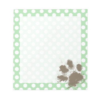 Funny Paw Print on Celadon Green Polka Dots Notepad