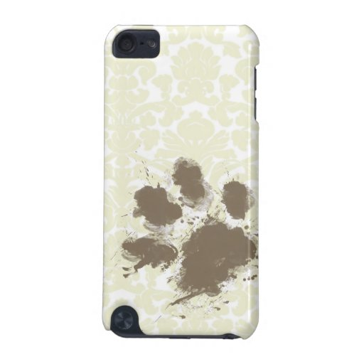 Funny Paw Print on Ivory Damask Pattern iPod Touch 5G Cases