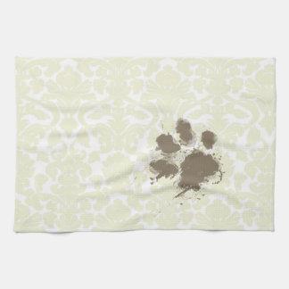 Funny Paw Print on Ivory Damask Pattern Tea Towel