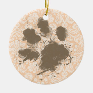 Funny Paw Print on Light Apricot, Peach Damask Ceramic Ornament