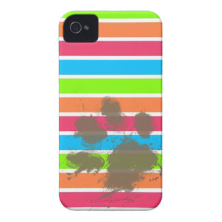 Funny Paw Print on Neon Stripes iPhone 4 Cover