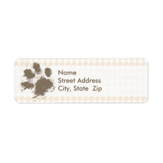 Funny Pawprint; Antique White Houndstooth Return Address Label